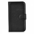 Lychee Pattern Protective PU Case for Huawei Y330 - Black