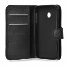 Lychee Pattern Protector PU Case para Huawei Y330 - Preto