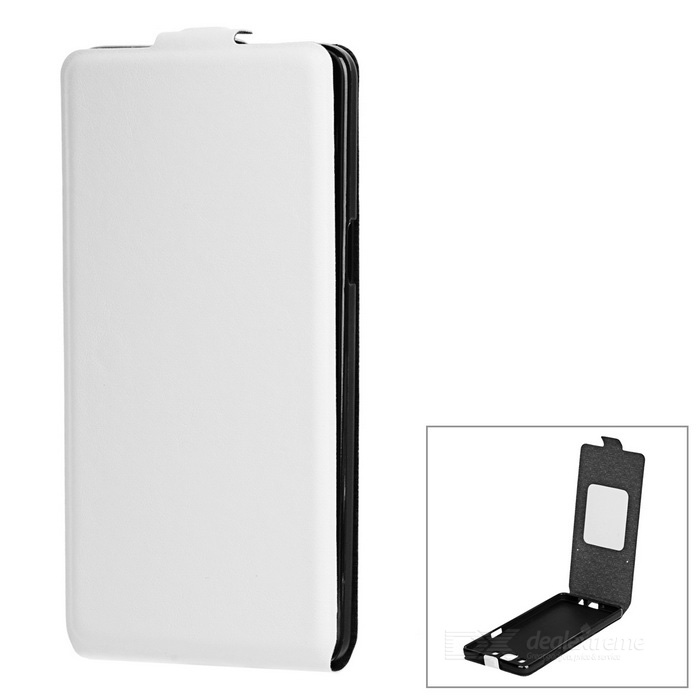 Up-Down Flip Open Protective PU Case for Samsung A5 - White