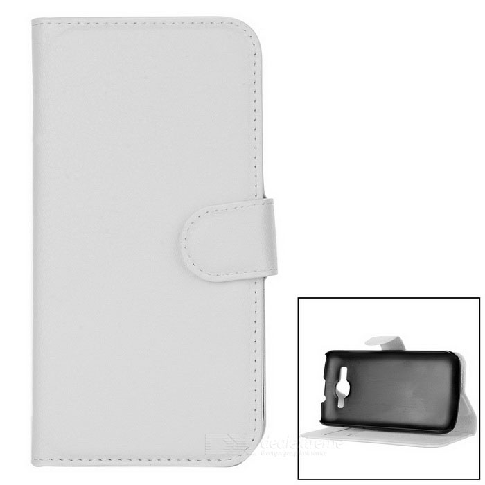 Lychee Pattern Protective PU Case for Huawei Ascend Y520 - White