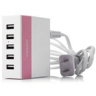 REMAX 1A / 2.1A / 2.4A 5 Ports USB Charger - Pink (US Plugs)