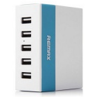 REMAX 1A / 2.1A / 2.4A 5 Ports USB Charger - Blue + White (US Plugs)