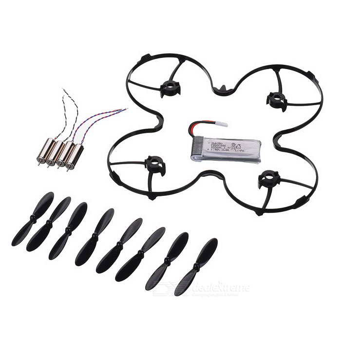 mini quadcopter tilbehør kit for hubsan H107P - sort + sølv