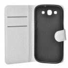 Lychee Pattern Protective PU Case for Samsung Galaxy S3 i9300 - White