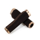 Lock-on Leather Handlebar Hand-Stitched Grip - Dark Brown (Pair)
