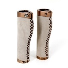 Bicycle Lock-on Leather Handlebar Hand-Stitched Grips - White (Pair)