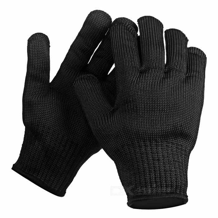 Safety Stainless Steel + Vinyl Protective Working Gloves - Black
