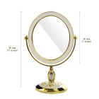 Portable Desktop Palace Style Double-side Toilet Mirror - White + Gold