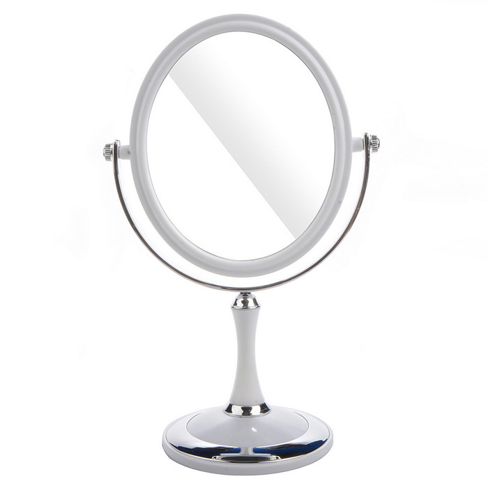 Portable Stone Pattern Desktop Toilet Dressing Mirror - White + Silver
