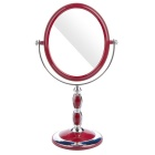 Portable Stone Pattern Desktop Toilet Dressing Mirror - Wine + Silver