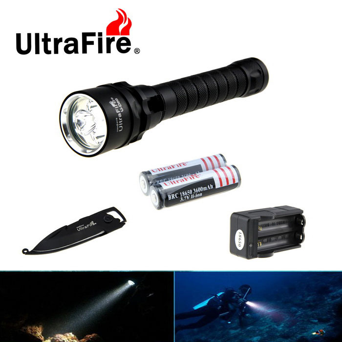 Ultrafire 3-XM-L2 3-Mode Diving Flashlight w/ Keychain Knife - Black