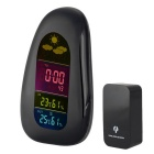 Radio Stations Report Digital Thermometer Hygrometer Clock - Black