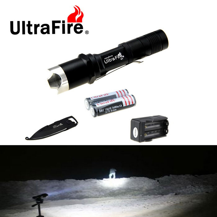 Ultrafire XP-L C1 Tactical Flashlight w/ Strap, Keychain Knife - Black