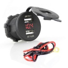 IZTOSS USB Motorcycle / Car Charger w/ Voltmeter - Black + Red