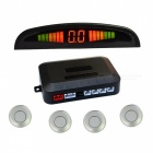 "0.6"" Wired 4 Parking Sensors LED Alarm Sound Reversing Radar - Silver"