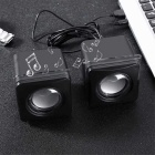 MK-G104 USB 2.0 Mini Speakers - Black (2PCS)