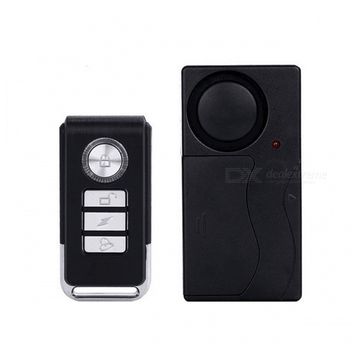 KS-SF04R Wireless Remote Security Vibration Alarm System - Black