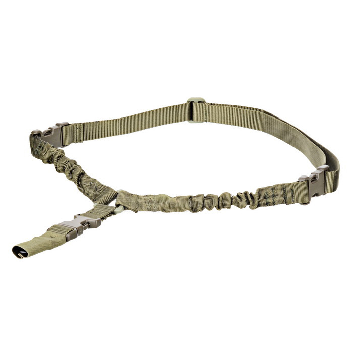 Tactical 1 Point Quick Detach Stealth Bungee Rifle Sling - Army Green