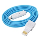 Micro USB OTG Data Transmitting / Charging Cable - Light Blue + White
