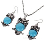 Owl Design Necklace + Earrings Set - Blue + Antique Silver