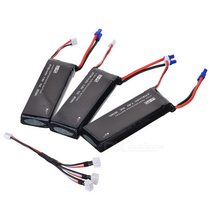 H501S-001 7.4V 2700mAh Batteries + 1-to-3 Charging Cable Kit - Black