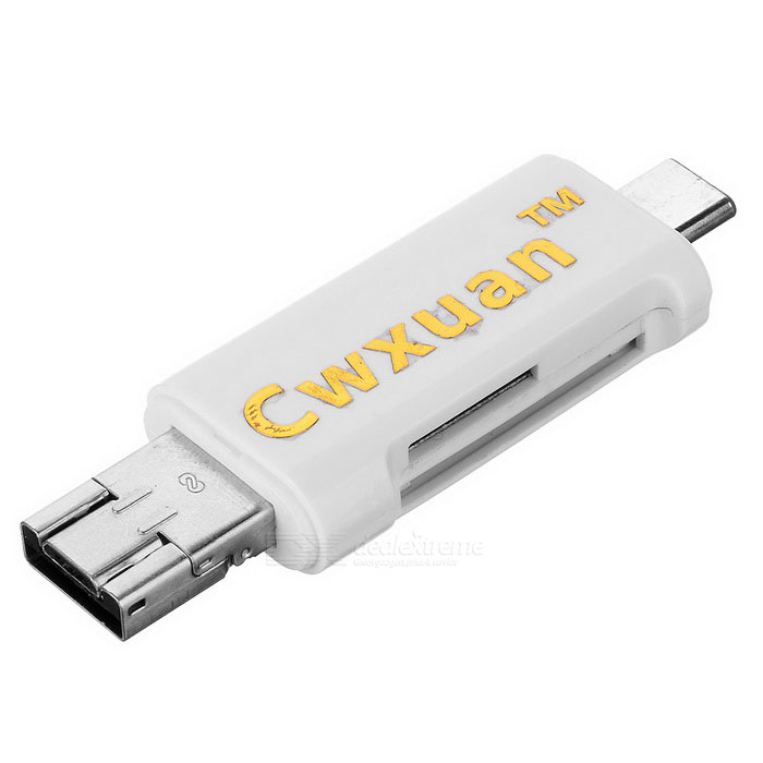 Cwxuan Type C / Micro USB / USB 2.0 to SD/TF Card Reader - WhiteLaptop/Tablet Cable&amp;Adapters<br>Form  ColorWhiteQuantity1 DX.PCM.Model.AttributeModel.UnitShade Of ColorWhiteMaterialABSInterfaceUSB 2.0,Others,Type-C 3.1 / Micro USBPacking List1 * Card reader<br>