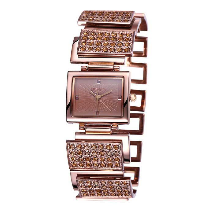 WEIQIN 270301 Square Dial Alloy Band Bracelet Wrist Watch - Brown