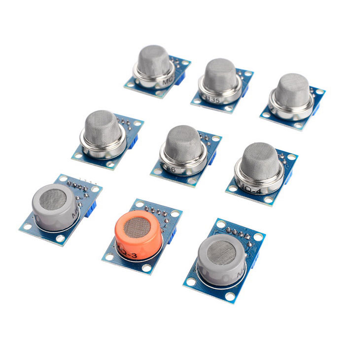 Gas Sensor MQ-2 MQ-3 MQ-4 MQ-5 MQ-6 MQ-7 MQ-8 MQ-9 MQ-135 Sensor KitKits<br>Form ColorBlueModel-Quantity1 SetMaterialPCB + electronic componentsEnglish Manual / SpecNoOther FeaturesA product for Arduino that works with official Arduino boards.Packing List1 * MQ-2 Gas Sensor Module1 * MQ-3 Gas Sensor Module1 * MQ-4 Gas Sensor Module1 * MQ-5 Gas Sensor Module1 * MQ-6 Gas Sensor Module1 * MQ-7 Gas Sensor Module1 * MQ-8 Gas Sensor Module1 * MQ-9 Gas Sensor Module1 * MQ-135 Gas Sensor Module<br>