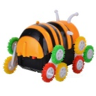 Cartoon Bee Style Plastic Tipcart Stunt Toy Car - Yellow + White