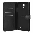 Litchi Grain PU Case w/ Stand for Samsung Galaxy Mega 2 G7508Q - Black