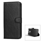 Litchi Grain PU Case w/ Stand for Samsung Galaxy S6 EDGE Plus - Black