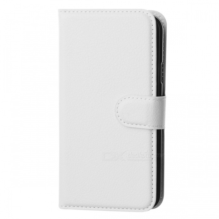 Litchi Grain PU Case w/ Stand, Card Slot for Samsung Galaxy S5 - White