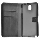 Litchi Grain PU Case w/ Stand for Samsung Galaxy Note 3 - Black