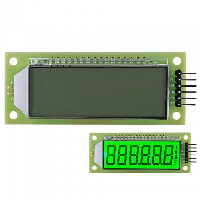 2.4'' 6-Digit 7 Segment LCD Display Module Green Backlit for Arduino