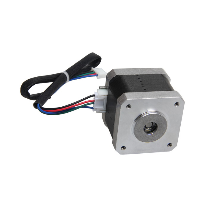 Geeetech Nema 17, 42 BYG Shaft-reversed Stepper Motor - Black3D Printer Parts<br>Form  ColorBlack + silvery whiteModelNema 17Quantity1 DX.PCM.Model.AttributeModel.UnitMaterialMetalworkEnglish Manual / SpecNoOther FeaturesStep Angle: 1.8±5% degree/phase<br>Voltage: 4.2V DC<br>Current: 1.2A/phase<br>Resistance: 8.8±10% /phase<br>Inductance: 6.0mH±20 %( 1kHz 1V rms)<br>Lead style: AWG26 UL1007<br>Comes with 70cm 4-Lead Wire<br>Holding torque: 40N.cm Min<br>Detent torque: 2.6N.cm Max<br>insulation resistance: 100Mohm Min (DC 500V)<br>Insulation class: B (130C)<br>Rotor torque: 57g.cm 2Packing List1 * Stepper motor1 * Wire (300mm)<br>