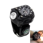 Outdoor Neutral White LED Display Silicone Band Flashlight - Black