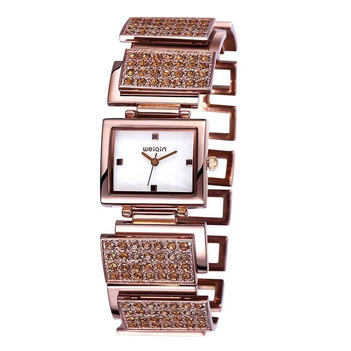 WEIQIN 270302 Square Dial Alloy Band Wrist Watch - Brown + White
