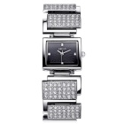 WEIQIN 270303 Square Dial Alloy Band Wrist Watch - Silver + Black