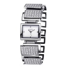 WEIQIN 270304 Square Shaped Dial Alloy Band Wrist Watch - Silver