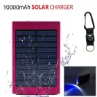 "SUNGZU ""10000mAh"" Dual USB Solar Power Battery Bank - Red + White"