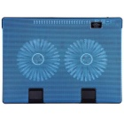 I668 Laptop Cooling Pad Blue LED Light Cooler w/ 2 USB, Stand - Blue