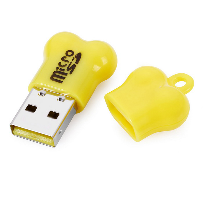 Maikou Mini Bone Style Micro SD Card Reader for Computer - Yellow