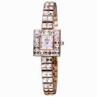 WEIQIN 272502 Square Shaped Dial Alloy Band Wrist Watch - Golden