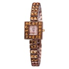 WEIQIN 272503 Square Shaped Dial Alloy Band Wrist Watch - Coffee