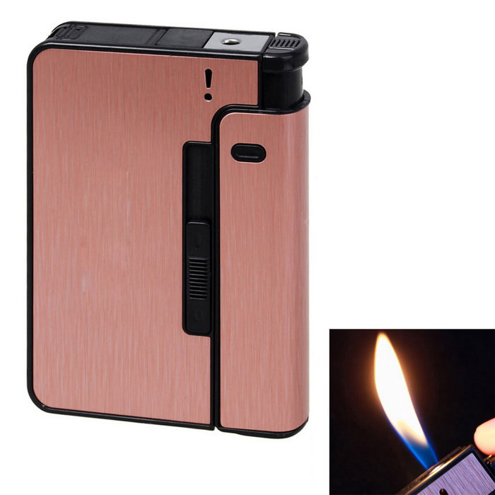 Stylish Ultra-thin Auto Cigarette Lighter - BronzeButane Jet Lighters<br>Form  ColorBronzeModelN/AMaterialAlloy + ABSQuantity1 DX.PCM.Model.AttributeModel.UnitShade Of ColorPinkTypeGasFlame ColorYellowWindproofNoFuelGasesPacking List1 * Cigarette Case lighters<br>
