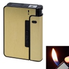 Automatic 10 Sticks/Pack Cigarettes Storage Box Case / Yellow Flame Gas Lighter