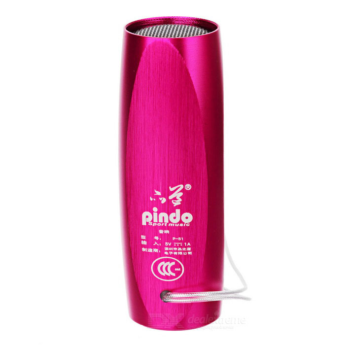 PINDO S1F Bicycle Mini Speaker w/ TF, FM Radio - Dark Pink