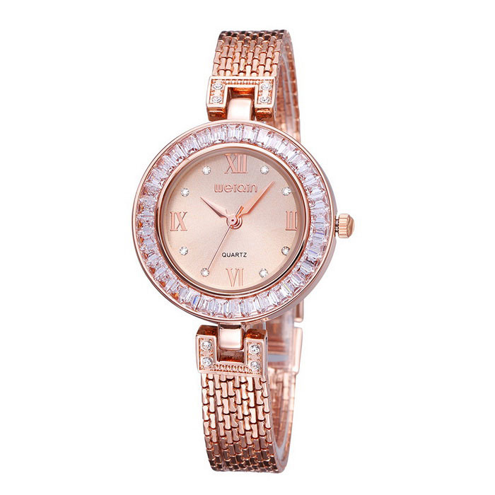 WEIQIN 261901 Round Dial Alloy Band Wrist Watch - Golden