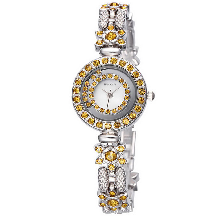 WEIQIN 270903 Flower-Shaped Bracelet Alloy Wrist Watch - Silver + Gold
