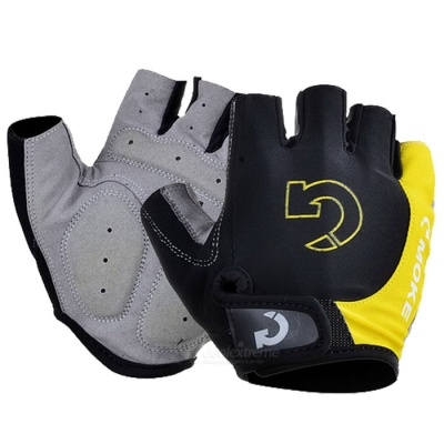 Moke Half-Finger Gloves for Cycling - Black + Yellow (M / Pair)